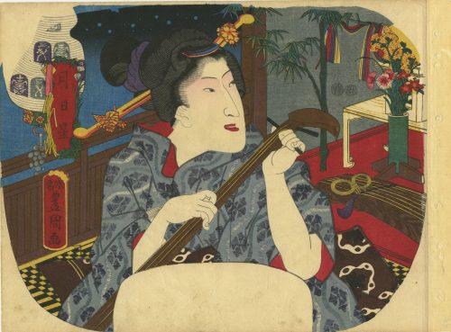 Utagawa Kunisada. Fan print triptych. Jitsu getsu sei no uchi. Stars. Circa 1850.