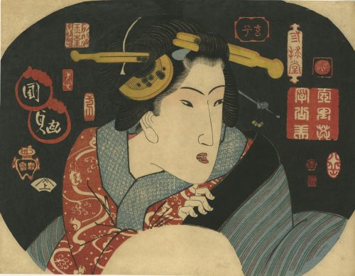 Utagawa Kunisada. Fan print. Beauty surrounded by decorative seals in archaic Chinese style. 1827.