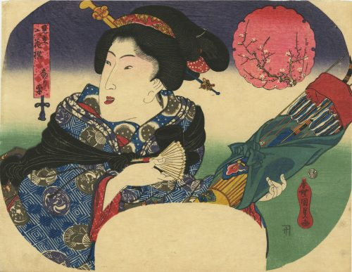 Utagawa Kunisada. Fan print of beauty with toy bow and arrow, from the series 'A Parody of Six Poets'. Circa 1840.