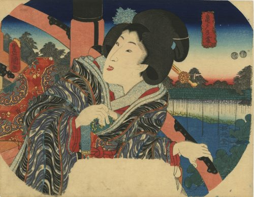Utagawa Kunisada. Fan print. A woman is coming down the taikobashi, facing Kameido Tenjin shrine. Circa 1850.