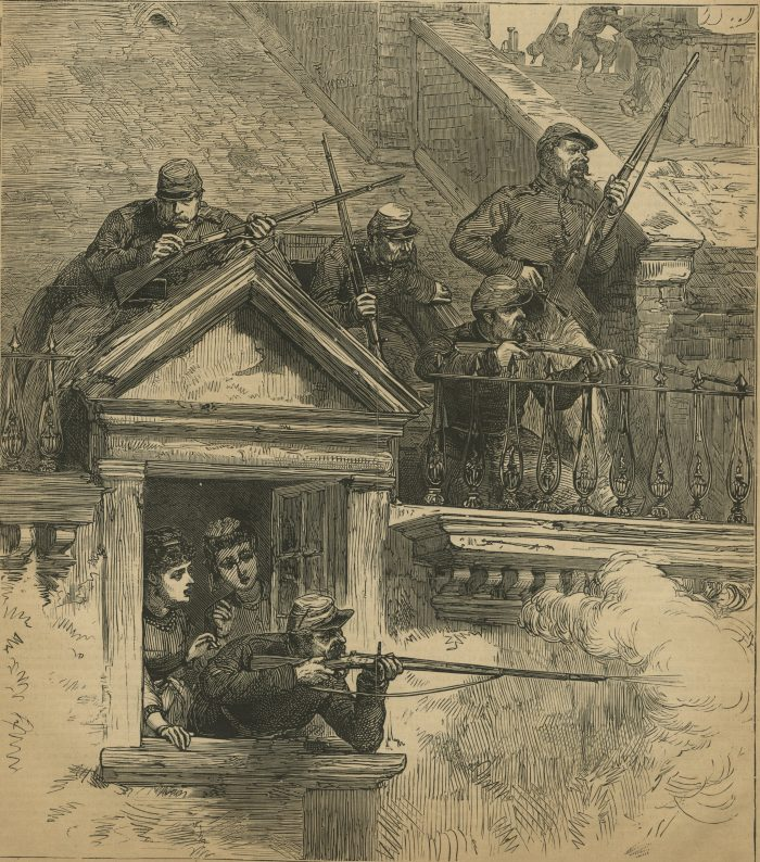 Versailles soldiers firing upon the communists from roofs and windows in Paris. Harper's Weekly: July 1, 1871