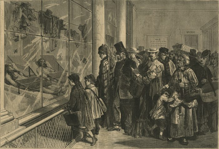 The morgue at Paris - The last scene of a tragedy. Harper's Weekly: July 18, 1874